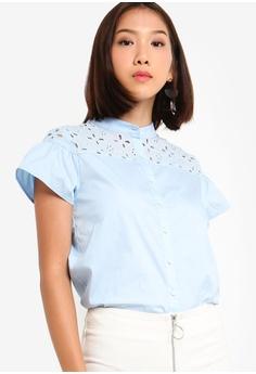 f9c77c326862e Something Borrowed blue Ruffles Eyelet Button Shirt 3F336AA2747E81GS 1