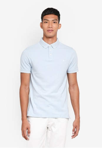 Jack Wills blue Langold Jaspe Pique Polo Shirt A9591AAECEC07AGS_1