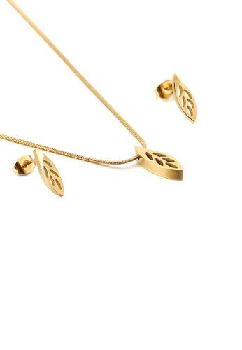 Glamorousky 銀色 簡約時尚鍍金色鏤空樹葉316L鋼項鏈和耳釘套裝 239B6AC797384FGS_1