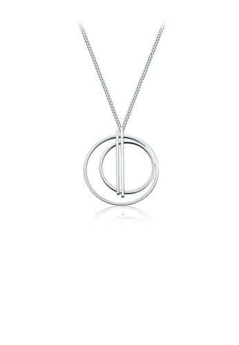 Glamorousky silver Simple Double Circle Pendant with Necklace 4FE29AC4CD6A76GS_1