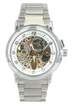 Business Fashion Skeleton Dial Men's Stainless Steel Bracelet Wrist Watch