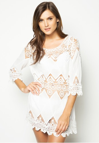 Shapes and Curves white Bohemian Crochet Tunic Dress SH408SE83MLOPH_1