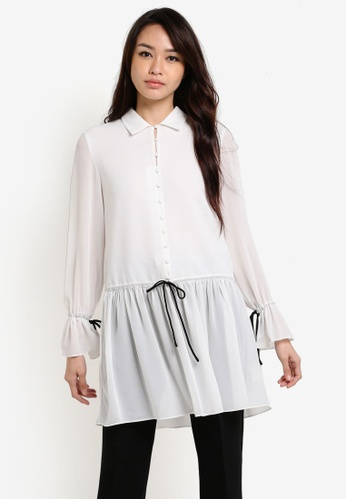 ZALORA white Contrast Stitch Button Through Blouse D221AAA0F6D4FAGS_1