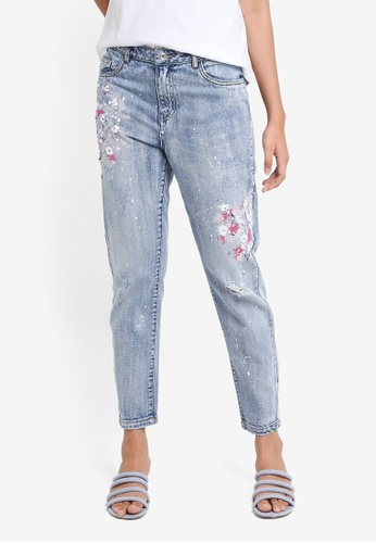 ONLY blue Tonni Paint Flower Jeans CA81EAA4F86407GS_1