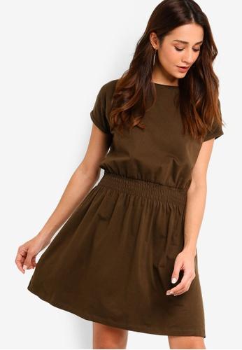 ZALORA green Smoke Waist Knit Dress E8C89AAF67CB23GS_1