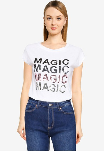 Springfield white Glitter Slogan T-Shirt 89E4AAAA8097E3GS_1