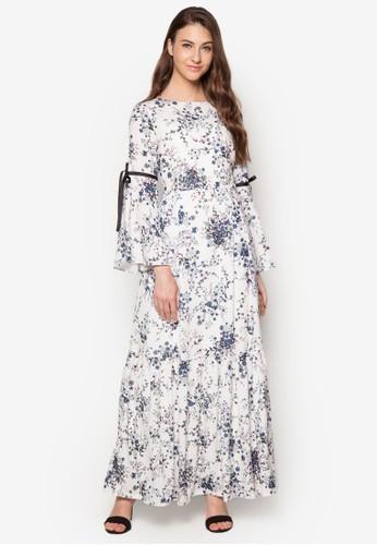繫帶喇叭袖印花連身長zalora鞋裙, 服飾, 洋裝
