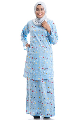 Ashura blue and multi Fazia Kurung Cotton Pahang BD548AA5D7805EGS_1