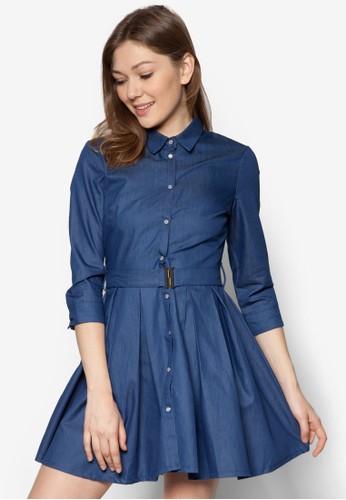 腰帶七分袖丹zalora 手錶 評價寧連身裙, 服飾, 洋裝