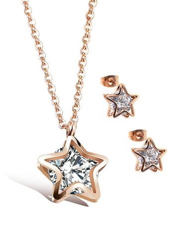 CELOVIS gold CELOVIS - Avvia Star Frame Zirconia Necklace + Earrings Jewellery Set in Rose Gold 8B8D2AC0DBABCCGS_1