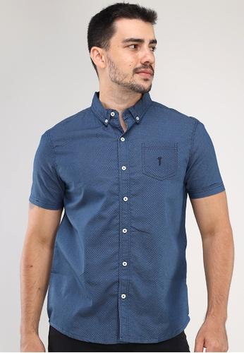 Bossini Men blue Woven Chambray Polo Short Sleeves Shirt 45427AA7953F0EGS_1