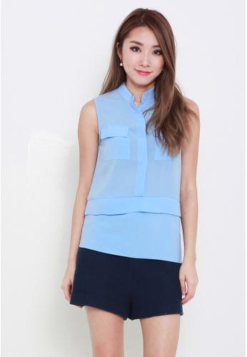 Leline Style blue Jeen Pockets Blouse LE802AA83FDGSG_1