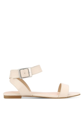 ZALORA beige Cross Ankle Sandals BECC2SH0A3470AGS_1