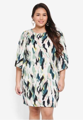 Junarose green and multi Plus Size Kirpa 3/4 Sleeve Dress F6BE5AA8A3507AGS_1