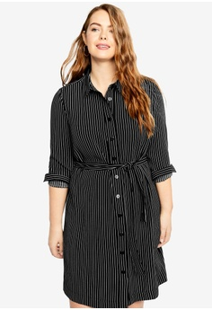 28fbe17acbe76 Violeta by MANGO black Plus Size Flowy Striped Dress 0D66EAAA7ADEEFGS 1