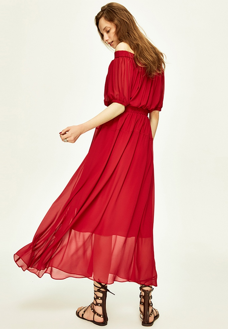 Shoulder Off Tassels Wine Layered with 2 Red Hopeshow Dress TBEvxw