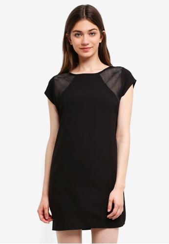 Something Borrowed black Mesh Insert Shift Dress B6AF1AA669B00CGS_1