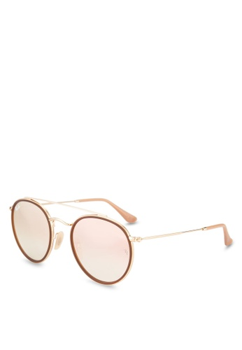 Ray-Ban gold Round Double Bridge RB3647N Sunglasses RA896GL89GRQMY_1