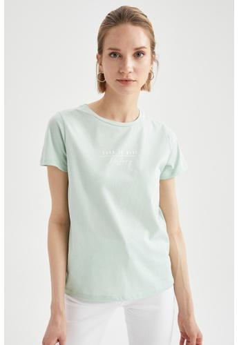 DeFacto green Short Sleeve Round Neck Cotton T-Shirt 0D0CFAAE6A3559GS_1