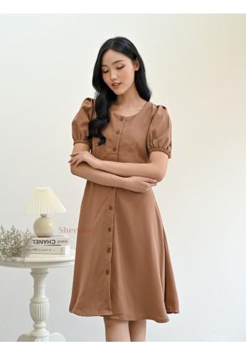 Sherello brown Daphne Dress in Brown 36040AA5B33539GS_1