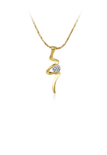 Glamorousky white Simple Plated Gold Geometric Pendant with Cubic Zircon and Necklace 6585FACF821E6AGS_1