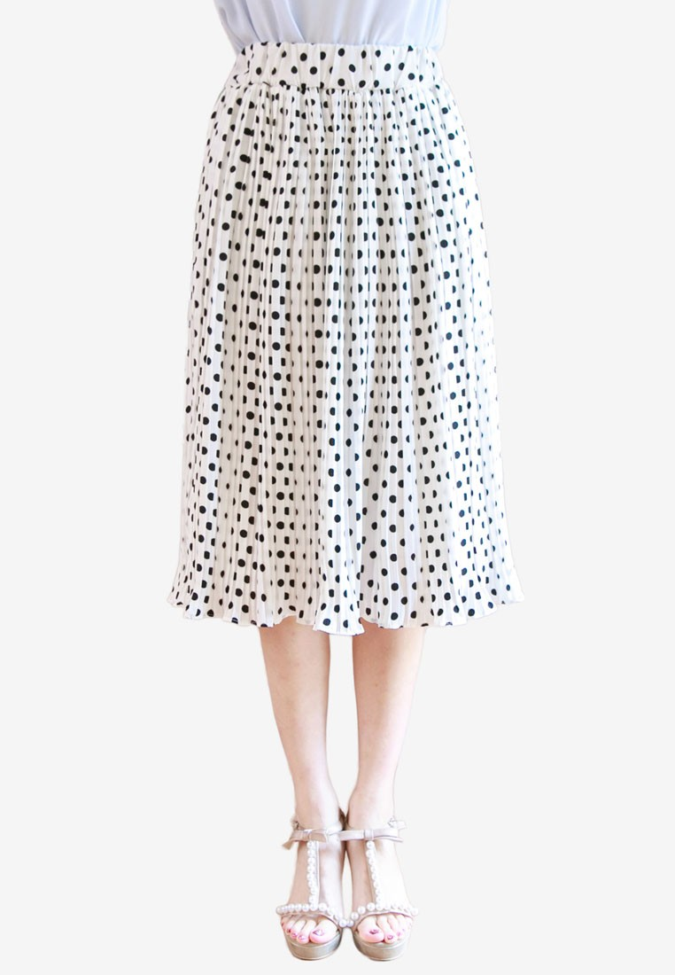 Pleated Polka Dots Skirt