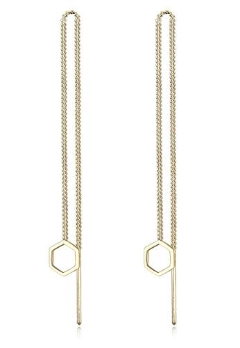 Elli Germany gold Elli Germany Hexagon Geo Minimalist 925 Silver Gold Plated Earrings EL474AC0S1ZVMY_1