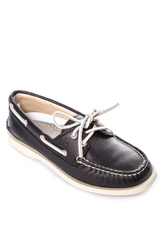 A/O Black Supersoft Leather Boat Shoes