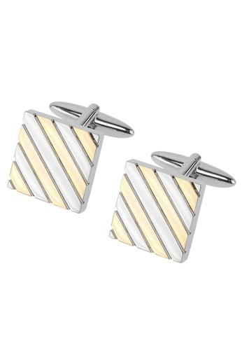 CUFF IT gold Silver and Gold Repp Stripe Square Cufflinks CU047AC2UQ83HK_1
