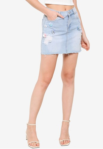 Quiz blue Denim Pink Applique Skirt DEA25AAD512589GS_1