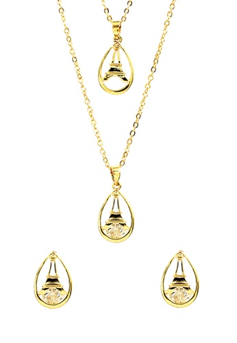 Venice Jewelry gold Venice Layered Eiffel Necklace and Earrings Set VE564AC0IMD4PH_1