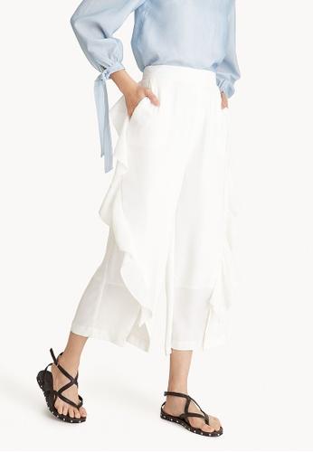 Pomelo white Side Ruffle Elastic Waist Culottes - White 131FCAA588588EGS_1