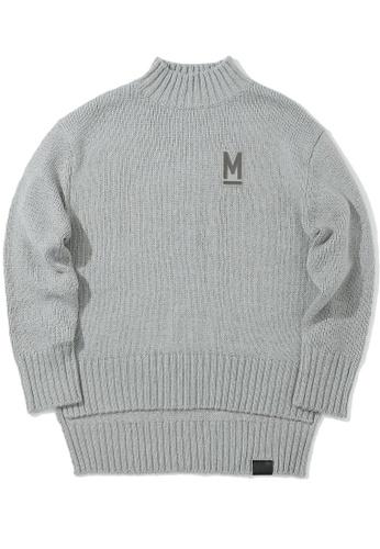 MUSIUM DIV grey Appliqué drape hem sweater AD3A8AAB4AC705GS_1