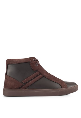 ZALORA brown Contemporary High Top Sneakers 242DBSH1733FC2GS_1