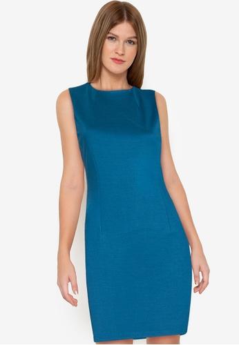 ZALORA WORK 藍色 Mock Neck Sheath Dress 6BC7BAA5FC88E7GS_1