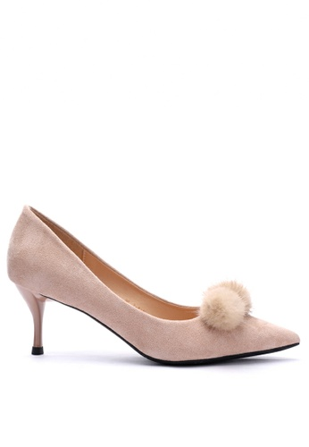 Twenty Eight Shoes 6.5CM 毛毛球尖頭猄布中踭鞋208-31 3BC97SH1C0562AGS_1