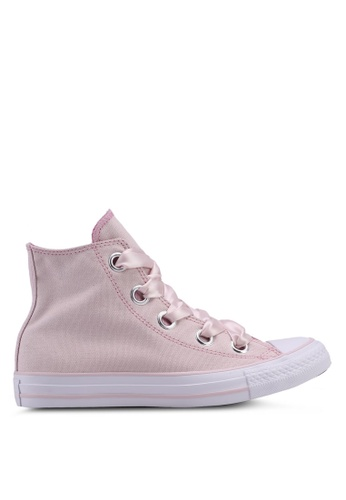 Converse white and pink Chuck Taylor All Star Bug Eyelets Hi Sneakers 06B23SH42AADBCGS_1