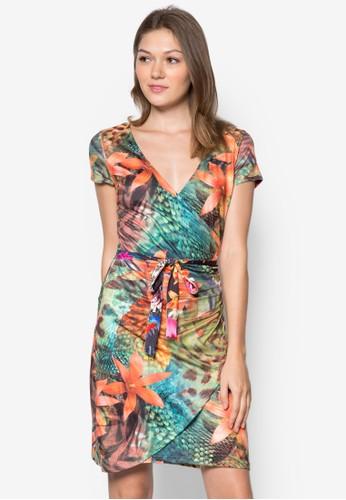 Avelina 印花裹飾zalora 衣服尺寸繫帶連身裙, 服飾, 服飾