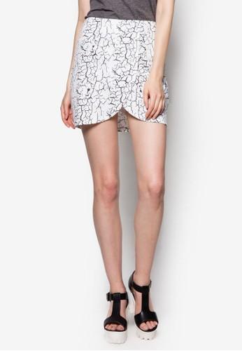 大理石印花裹式短裙, esprit 會員服飾, 迷你裙