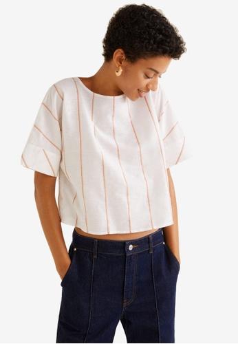 Mango white and orange Striped Cotton Top 5019BAA93B0DD7GS_1