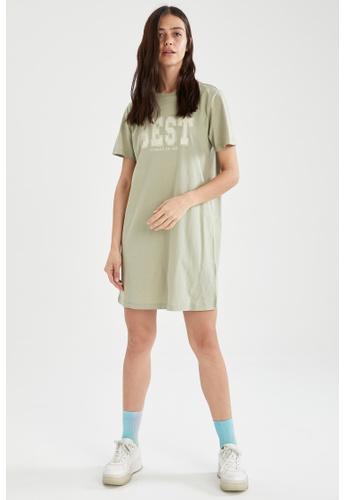 DeFacto green Short Sleeve Mini Dress C7B3DAA451D63BGS_1