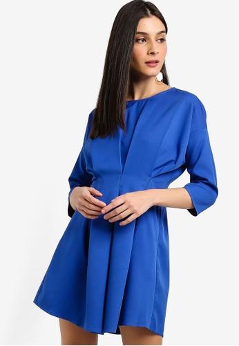 ZALORA 藍色 七分袖褶飾短洋裝 8F350AA063650AGS_1