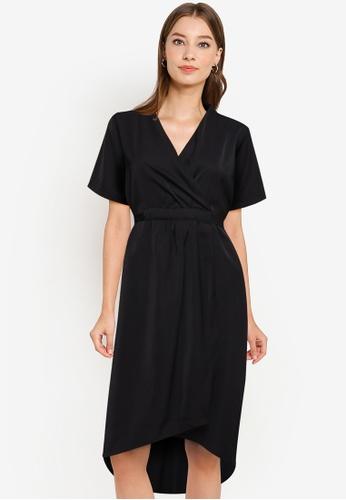ZALORA WORK black Gathered Wrap Dress CC909AA5FE0B37GS_1