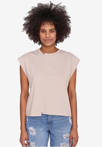 Noisy May beige and grey Daphni Organic Cotton T-Shirt 9C4D8AA6EA305DGS_1