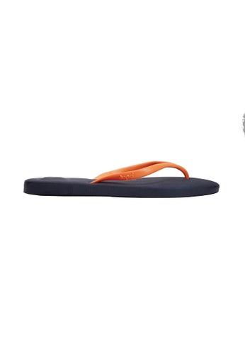 Dupe orange and blue and navy Dupé FUN Navy Blue/Orange Flip Flops DU634SH54LYVHK_1
