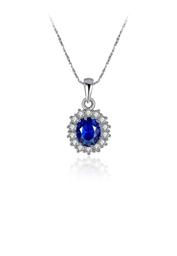 Glamorousky blue Fashion Flower Pendant with Blue Austrian Element Crystal and Necklace E0AB0AC16C439FGS_1