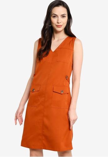 ZALORA WORK orange Button Detail Dress B6DC7AA675FC15GS_1