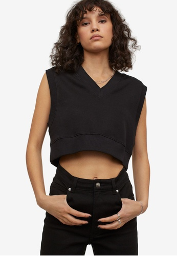 H&M black Cropped Sweater Vest 217DCAA2915683GS_1
