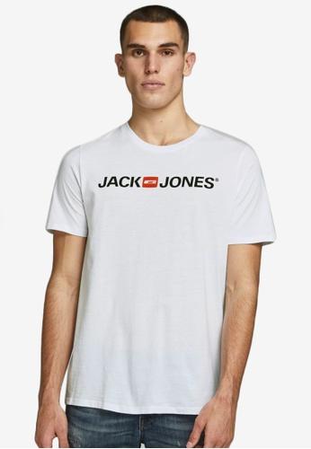 Jack & Jones white Logo Short Sleeves Crew Neck Tee BB5F4AAB8BD421GS_1