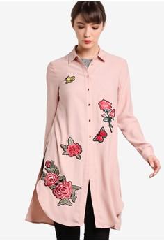 【ZALORA】 玫瑰徽章花卉圖案長版連身裙